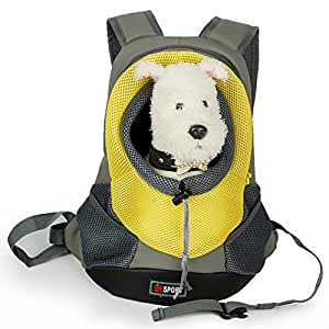 Japace® Transportin Bolsa Mochila Bolso para Perro Perrito Gato Mascota Animales con Gancho y Correa Ajustable Tamaño: 40 * 35 * 17cm para el Peso Aprox. 3-5kg(Amarillo)