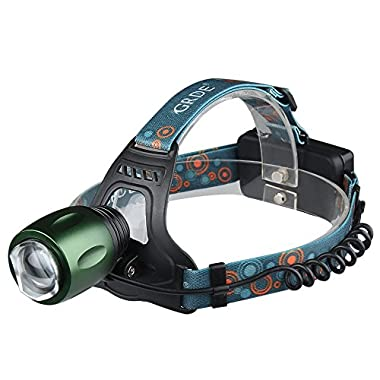 4 Modes Zoomable Blue + White Dual Light Source LED Headlamp /Headlight; Flashlights for Fishing Camping Hiking Riding Hunting Walking;Include 2 Rechargeable 18650 Batteries and Car Chager Head lamp/ Bike Light/ Head light