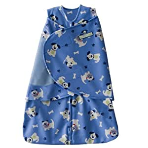 HALO Micro Fleece SleepSack Swaddle, Blue Pup Pals, Small (Discontinued by Manufacturer)