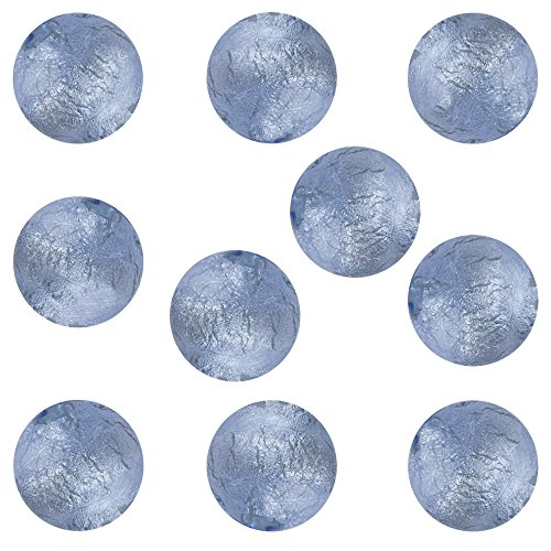 - Blue Round 6mm White Gold Foil Murano Glass Bead Encased 10 Pieces