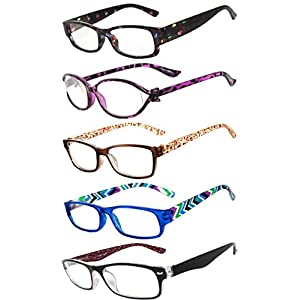 Readers 5 Pack of Elegant Womens Reading Glasses with Beautiful Patterns for Ladies Deluxe Spring Hinge Stylish Look 180 Day Guarantee +0.75