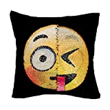 "Reversible Sequin Pillow Case,Emoji Throw Cushion Covers for Home Decor Party Sofa Couch Bed Car ,16""x16"" Tonuni Magic Mermaid Pillowcase (Dull and naughty)"