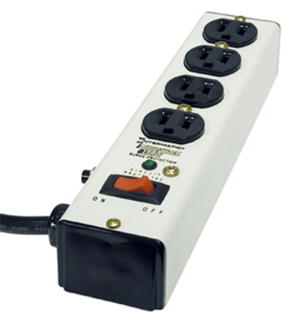 Intermatic IG112463 Metal Surge Strip with Four-Outlets & Lighted Switch with Six-Foot Cord, Ivory
