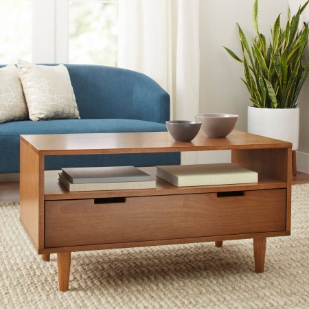 (Better Homes and Gardens Flynn Mid Century Modern Coffee Table, Pecan )