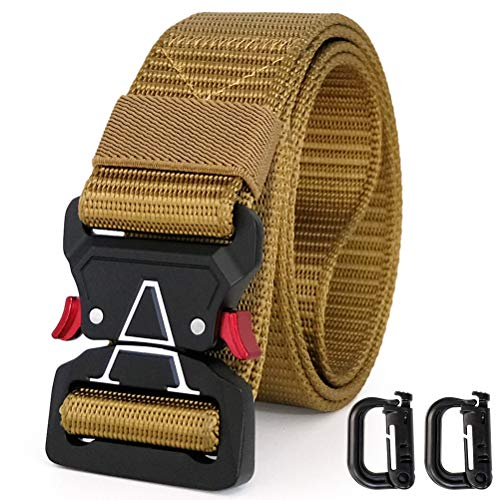 WONDAY Tactical Belt, Mens Military Style Belt, Nylon Webbing Belt with Quick-Release Buckle for Cargo Pants Jeans