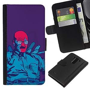 Azul Meth Rey - la tarjeta de Crédito Slots PU Funda de cuero Monedero caso cubierta de piel Para LG G3