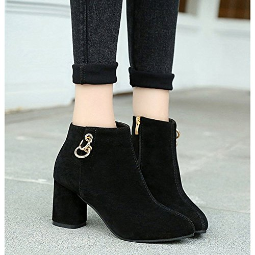 Mid Boots Almond ZHZNVX Toe Cashmere Women's Shoes Chunky Winter Boots Heel Round Boots Rhinestone Calf Black for Black HSXZ Casual Fashion 7Hw7qP0r