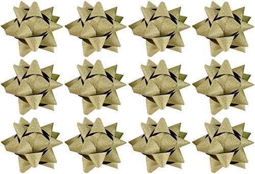 The Gift Wrap Company 12 Count Glitterati Traditional Bows, Gold