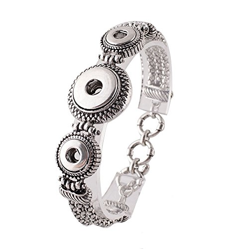 (Interchangeable Snap Jewelry Toggle Bracelet of Mini 12mm & Regular 18-20mm Snaps by My Prime Gifts)