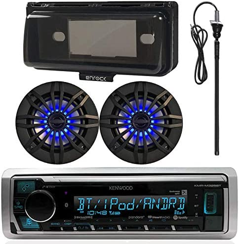 Kenwood MP3 USB AUX Bluetooth Marine Boat Yacht Stereo Receiver Bundle Combo with 2 x 6.5 Inch 2-Way Speakers, Enrock Waterproof Stereo Cover, Enrock 22 Radio Antenna