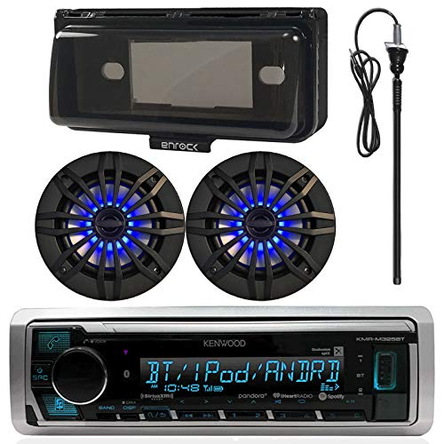 Kenwood MP3/USB/AUX Bluetooth Marine Boat Yacht Stereo Receiver Bundle Combo with 2 x  6.5