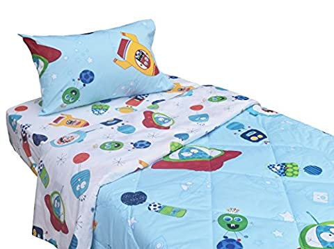 The Cute Viruses Germs Planet Star Wars 5-pieces Comforter Set Twin for Kids Bedroom, 100% Cotton, Comforter + Flat Sheet + Fitted sheet + two (Rocket Twin Bedding)