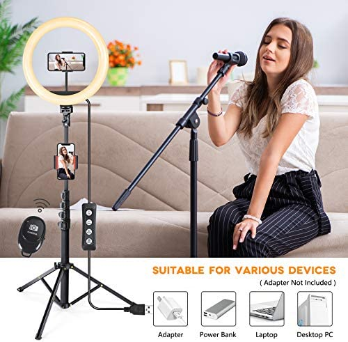 "10"" Selfie Ring Light with Tripod Stand & Cell Phone Holder, Wireless Bluetooth Remote Control, Dimmable Led Camera Beauty Ringlight for Live Stream/Makeup/Photography/YouTube Videos/Vlog/TIK Tok"