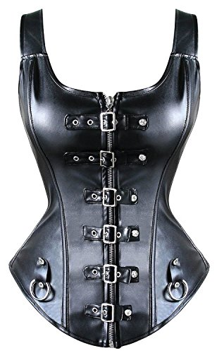 Zipper-up Front Faux Leather Boned Corset Bustier (Black) - 8