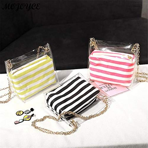 Bags Shoulder Pcs 2 Striped Black Transparent Yellow Jelly Composite Bags UaU4Twq
