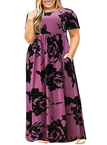 Womens Plus Size Maxi Dresses Short Sleeve Causal Summer Floral Plain Loose T Shirts Long Dress with Pockets Purple