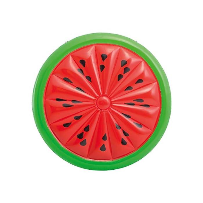 51w7rMYswNL Colchoneta hinchable Intex con forma redonda y diseño de sandía Fabricada con materiales resistentes, su uso es para el agua o para tomar el sol Recomendada para 2 personas adultas, soporta un peso máximo de 200 kg