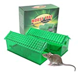 FidSpi Humane Smart Mouse Trap That Work No Kill Capture Mousetrap Cage Mice Catcher Live Catch and Release Rodents Animals for Indoor or Outdoor, Safe Around Children & Pets (Green 2 Pack)