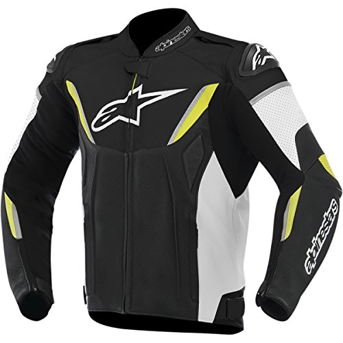 Alpinestars GP-R Perforated Leather Men's Riding Jacket (Black/White/Yellow, Size 60)
