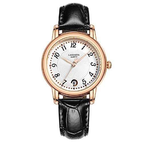 Date Round Wrist Watch (ChezAbbey Elegant Women' s Ladies' Wristwatches Waterproof Analog Clock Time Date Display Round Dial Quartz Watch Black)