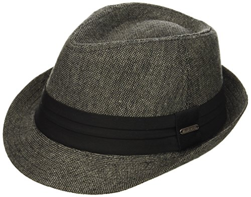 Van Heusen Men's Fedora Hat W/Pleated Headband and Metal Logo Plate, Charcoal, Medium/Large