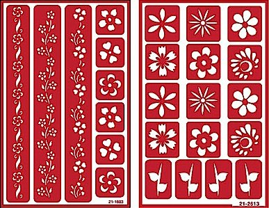 Over 'n' Over Reusable Self-Stick Etching Stencil for Glass (or Stamping) - Bundle of Two Sets - Floral Borders 2 & Flowers by Over n Over