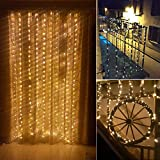 Fairy Curtain Lights,LeaderPro 300 LED Window Curtain Lights,3x3m,8 Modes Icicle String Lights with Remote Control for Indoor Outdoor Party Wedding Christmas Xmas Home Garden Bedroom Decoration