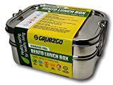 Stainless Steel Lunch Container by GRUB2GO + FREE BENTO FOOD IDEAS GUIDE | Premium 3-Layer 1600 ML Metal Tiffin Bento Box