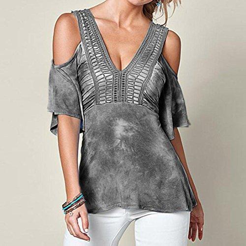 Vovotrade De la camiseta de la camisa hueco del verano de las mujeres del cuello del hombro V media manga Blusa Camiseta Tops Tassel decoración Gris