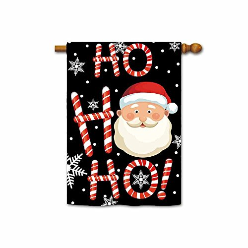Hamory Ho Ho Ho Santa Decorative Christmas House Flag Happy Winter Holiday Snow Yard Banner for Inside and Outside 28x40 Inch Print Both (Holiday Flags Banners)