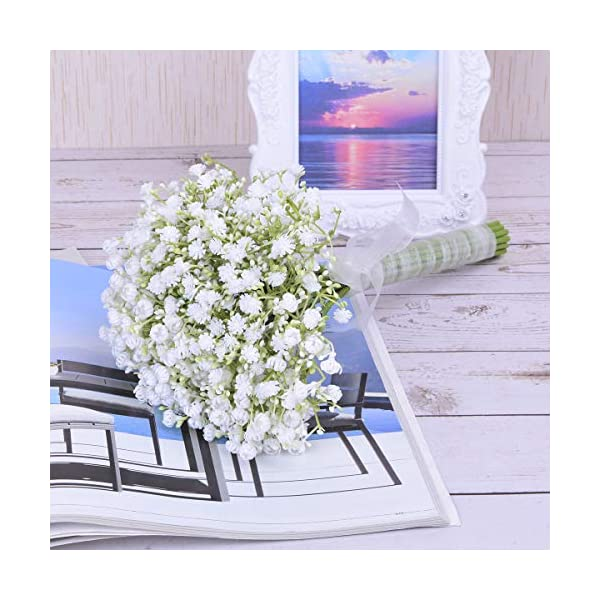 Anna Homey Decor White Artificial Baby Breath Flowers Bouquet with Silk Ribbon Fake Gypsophila Bridal Bouquet for Wedding Party Flower Arrangements Centerpieces for Office Home Table Decor