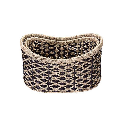 "- Villacera Bernard Handmade Wicker Water Hyacinth Oval Nesting Baskets in Brown and Natural | 18"" x 13"" & 16"" x 11"" 