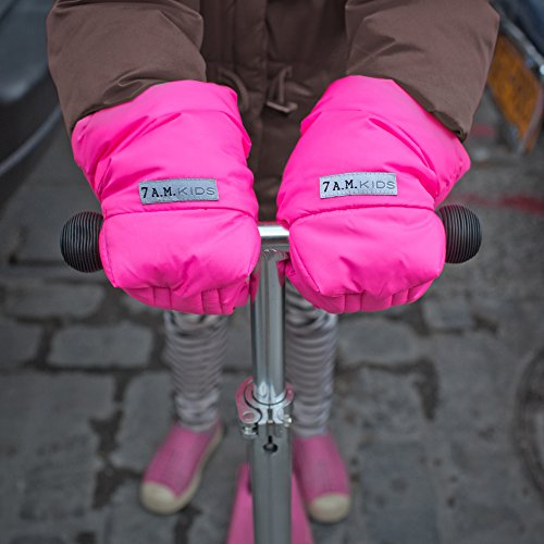 7AM Enfant Kids Warmmuffs, Grape/Neon Pink, Large