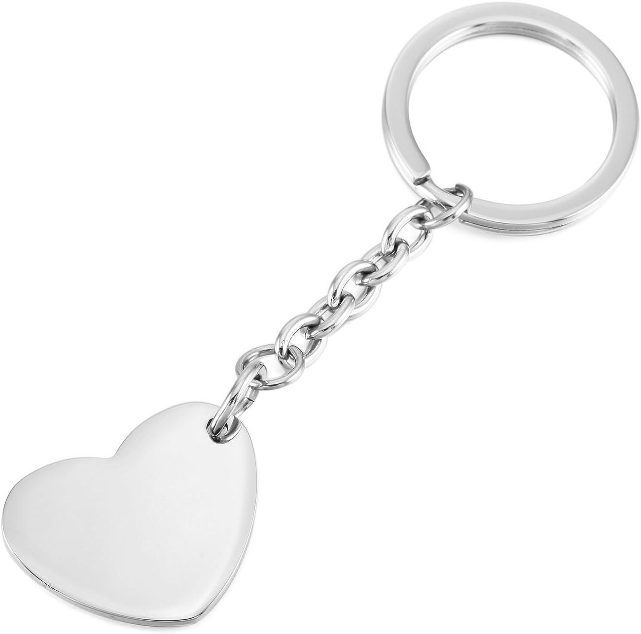 MeMeDIY Silver Gold Two Tone Black Stainless Steel Keychain Heart Guitar Pick