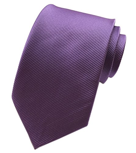 Elfeves Men's Dark Purple Neckties Silk Tie For Men Suit Fitness Dating -