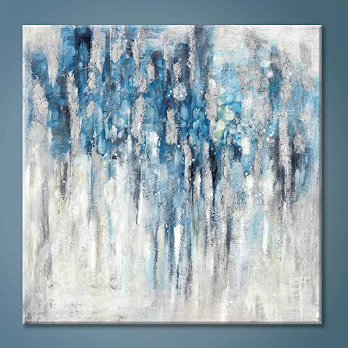 Modern Abstract Wall Art Canvas:Blue and Gray Artwork Painting for Living Room