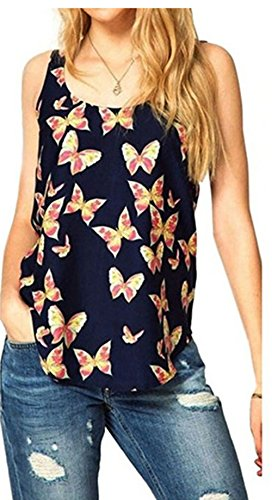 Butterfly Tank Womens Top - Laimeng Vest,Womens Butterfly Print Sleeveless Chiffon Tank Top Shirts Crew Vest (L, Black)