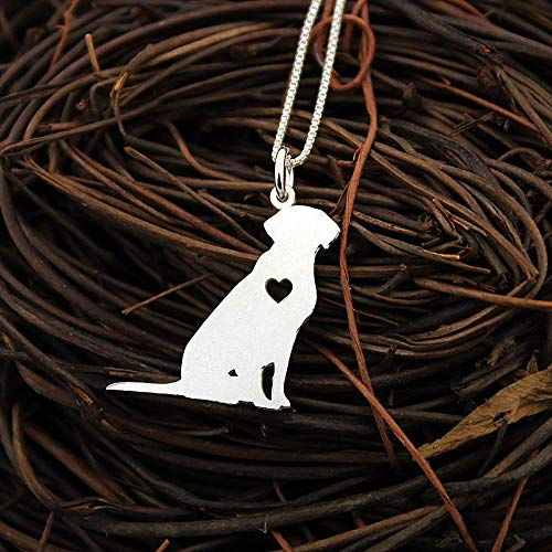 Labrador Retriever engarvable necklace sterling silver dog breeds pendant w/Heart - Love Pet Jewelry Italian chain Women Best Cute Gift Personalized memory gift - Lab 4