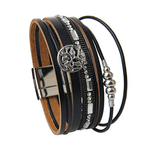 Jenia Black Geniune Leather Cuff Bracelet - Snowflake Alloy Beads and Crystal Bangle Handmade Jewelry for Ladies, Wife Gift - with Magnetic Buckle and Gift Box By by Jenia (Image #2)