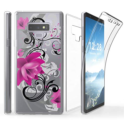 Shield Protector Magenta Case (Tri Max Samsung Galaxy Note 9 Case with Ultra Slim 360 Degree Full Body Protection Cover with Self-Healing Flexible Gel Clear Screen Protector and Atom Cloth for Samsung Galaxy Note 9 - Lotus)