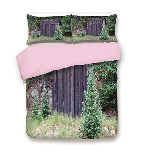 Leaf 3 Sofa Piece (Pink Duvet Cover Set,Twin Size,Farm Life House Wooden Door of Cottage Hut in Woodland Leaves Art Print,Decorative 3 Piece Bedding Set with 2 Pillow Sham,Best Gift For Girls Women,Dark Brown and Green)