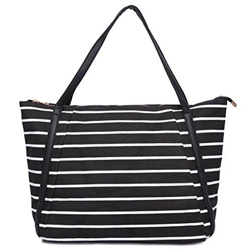 Cherrygoddy Retro Striped Canvas Shoulder Bag Handbags(1)