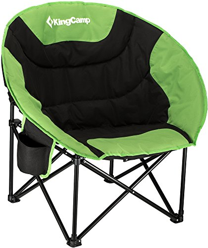 KingCamp Moon Saucer Camping Folding Round Chair Padded Seat Heavy Duty Steel Frame with Cup Holder and Back Pocket (Green) (Round Chair With Cup Holder)