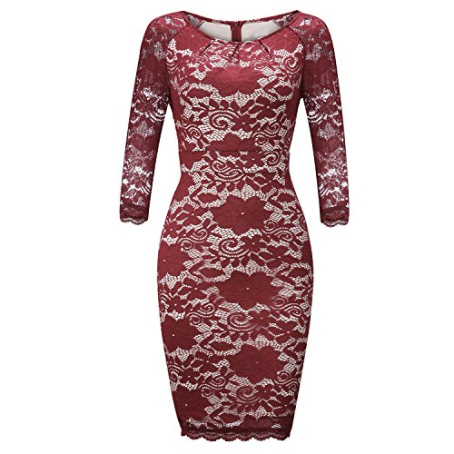 FISOUL Womens Cocktail Dresses Vintage Floral Lace Long Sleeve Bodycon Formal Dress For Woman Party,XL