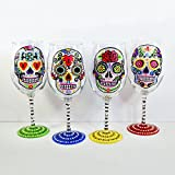 Spanish Sugar Skull Wine Glass, Set of 4