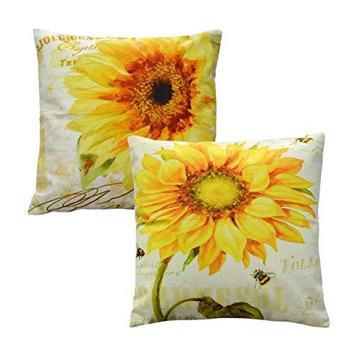 TEALP Sunflower Throw Pillow Covers Linen Cotton Soft Decorative Pillow Case Home Sofa Cushion Set, 2-Pack Square Design (18x18 inch) (Cases Sunflower Pillow)