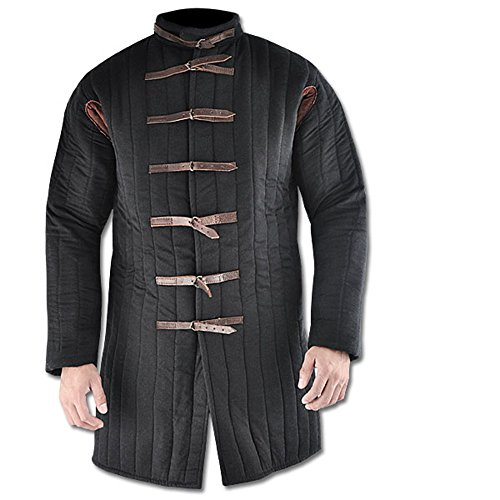 - Medieval thick padded BLACK gambeson aketon Doublet arming jacket armor armour