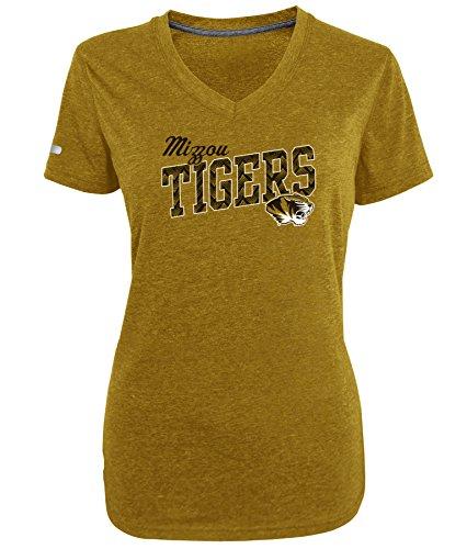 Champion NCAA Missouri Tigers Women's Achievement Short Sleeve V-Neck Tee, X-Large, Nugget Gold Heather