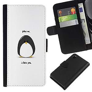 All Phone Most Case / Oferta Especial Cáscara Funda de cuero Monedero Cubierta de proteccion Caso / Wallet Case for Sony Xperia Z3 D6603 // Funny Poking Penguin