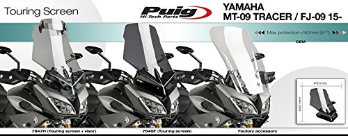 Light Smoked Puig 7646H Windshield Touring for Yamaha MT-09 Tracer 15-17